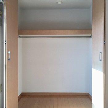 広めクローゼットです(※写真は5階の同間取り別部屋、モデルルームのものです)