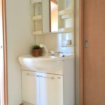 しっかりとした洗面台です(※写真は5階の同間取り別部屋、モデルルームのものです)
