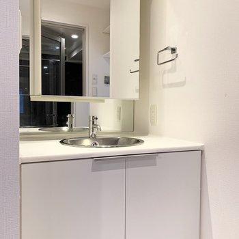 洗面台の鏡部分は収納になっています。