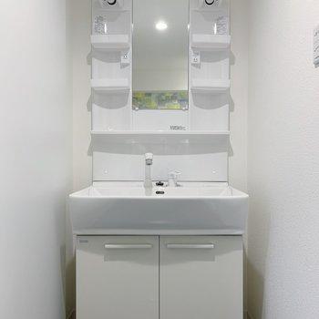 独立洗面台には収納がしっかりとありました!