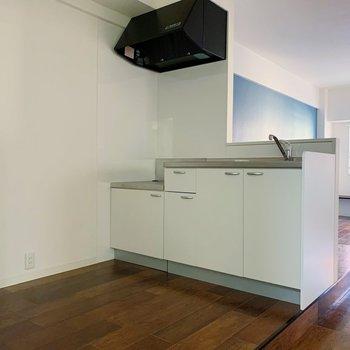 キッチン周りにはこんなにゆとりがあります。段差があるからつまづかないように気を付けて◯