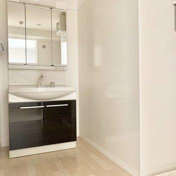 3面鏡の独立洗面台。脱衣所は広々としていました。