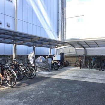 自転車置き場も屋根付きで大きい。