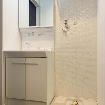 さて、脱衣所へ。洗面台はシャワータイプ、鏡裏も収納力があります。