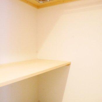 洗面台の向かいにはウォークインのクローゼットもあります※写真は同間取り反転タイプ