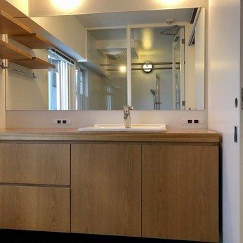 大きな洗面台。鏡も広く素敵なライト付き!
