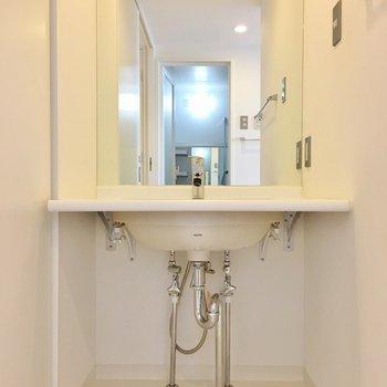 洗面台だってこだわります。(※写真は7階の同間取り別部屋のものです)
