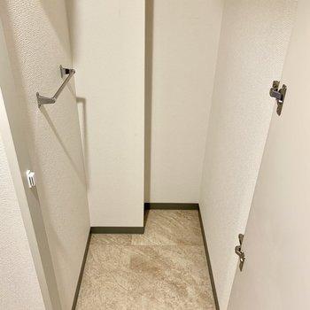 玄関にもう1つ収納スペース。こちらにシューズラックを持ち込むのも良さそう。