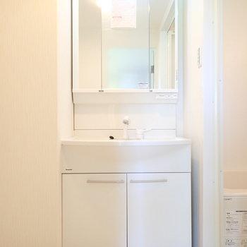 手洗いうがいはここで。鏡の裏は収納。