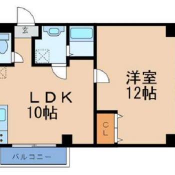 洋室のほうが広い1LDK。
