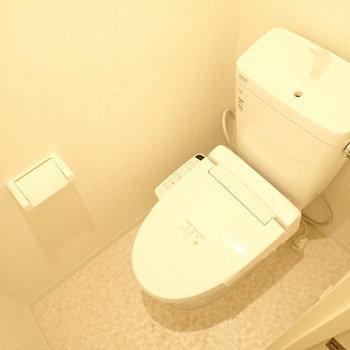 トイレも白くて清潔な印象。