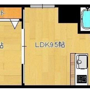 洋室とLDKを2枚の引き戸で仕切るタイプ。
