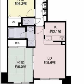 ゆったり2LDKのお部屋です。収納もたっぷり。