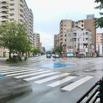 目の前の道路は、バスも多く通る野間四角です。