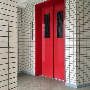 エレベーターはぱっと目につく赤色。