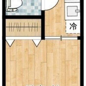 キッチンと居室はドアで仕切られています。