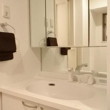 洗面は収納たっぷりですよ。(※写真は4階の同間取り別部屋、モデルルームのものです)