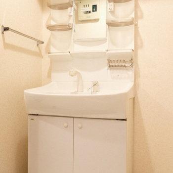シンプルな白の独立洗面台。(※写真は4階の反転間取り別部屋のものです)