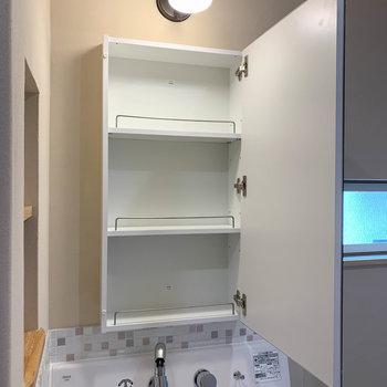 鏡裏には収納。洗面台やキッチンは掃除のしやすいシャワーノズルタイプです!