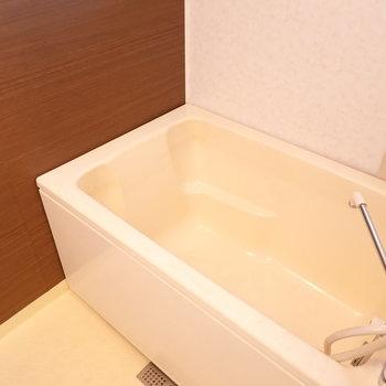お風呂は少しレトロですが、壁面がウォルナット調で安らぎます。
