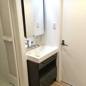 鏡のうらには収納もついています。洗面ボウルも大きめ。(※写真は4階反転間取り別部屋のものです)