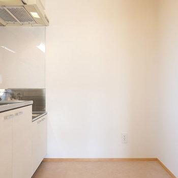 冷蔵庫スペースは後ろ。キッチンラックも余裕を持って置ける広さです。