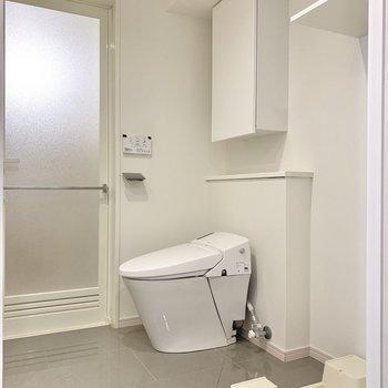 広めの洗面室にはトイレが奥にいらっしゃいました。