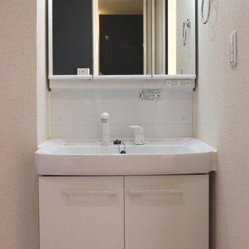 鏡の中にも小物が入る洗面台