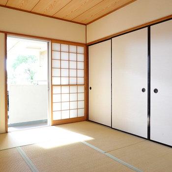 今時珍しくなってしまった和室。畳の匂いが落ち着かせてくれます。
