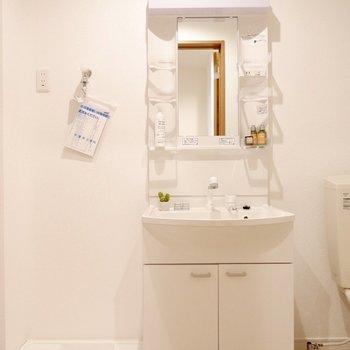 続いて洗面所へ、洗面台は収納多めで使いやすそう※家具はサンプルです