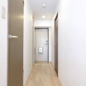 リビングから廊下を。左手が洗面所で、右手が更にもう1つの洋室。奥には玄関とその左手にはトイレ。