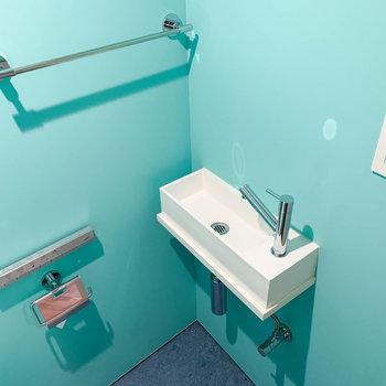 ミントカラーで爽やかな空間。手洗い場もあります。※写真は前回募集時のものです
