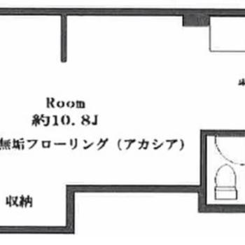 キッチンと洋室に仕切りがない1Rのお部屋です。