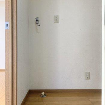 冷蔵庫と洗濯機は居室を出て左に。