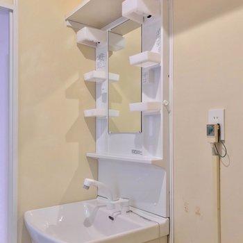 シャンプードレッサーも新品。上の棚には洗剤などを並べておけます。