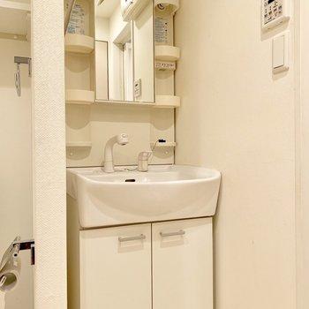 バスルーム入り口に独立洗面台。