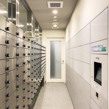 1階には集合ポストと宅配ボックスが。宅配ボックスは30以上ありましたよ。