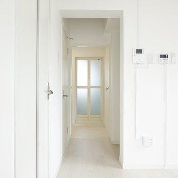 左手前が玄関、左奥がトイレ、右手が洋室、奥がお風呂への入り口です。