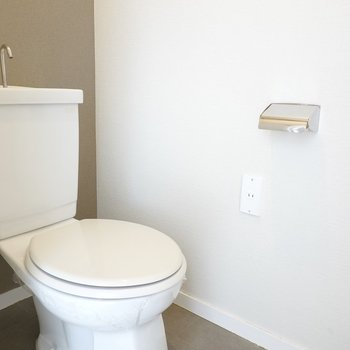 トイレはシンプル。床と壁が洗面所と同じものが使われています。
