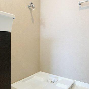 洗面所との隙間に収納を置けば見た目もスッキリ、効率の良い収納に