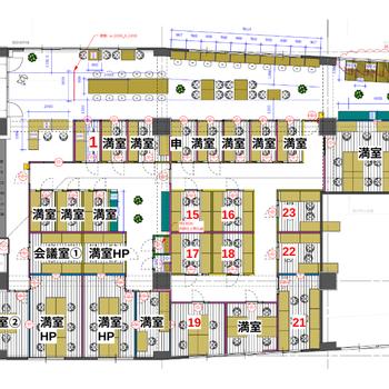 コワーキングスペースと、大小様々な個室ブースに分かれています。 今回ご紹介するのは19番ブース。