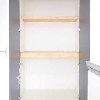 キッチン横の収納です。仕切りがあって使いやすそうです。