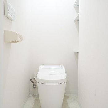 トイレの奥にも棚がありますよ。植物を置いてもいいかも。