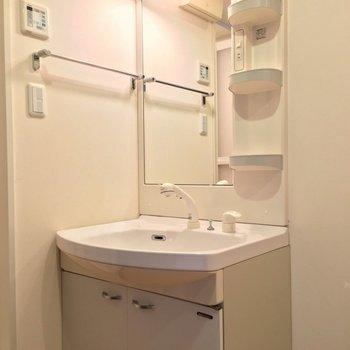 シャワーノズル付きで朝の支度もラクラク。 (※写真は3階の反転間取り別部屋のものです)