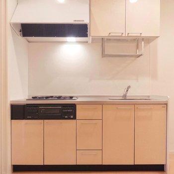 キッチン、棚も多く快適に使えそうです。