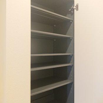 上の棚は大きい靴がまっすぐ入らないので、靴以外のものをしまってもいいですね。