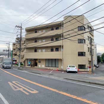 道路沿いのどっしりとしたマンションです。