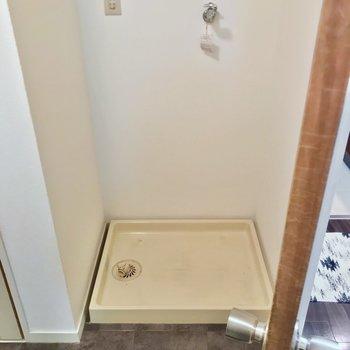 洗濯機置場は扉の裏側。大きなものも置けます。(※写真の小物は見本です)