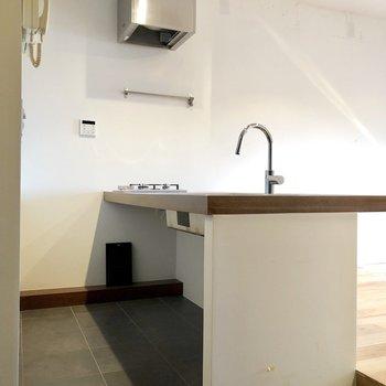 下の空間に収納棚を置いて食器や調味料をしまいたい!