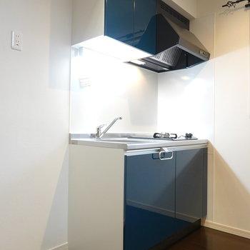 濃紺のカラーがお部屋にマッチしているキッチンです。